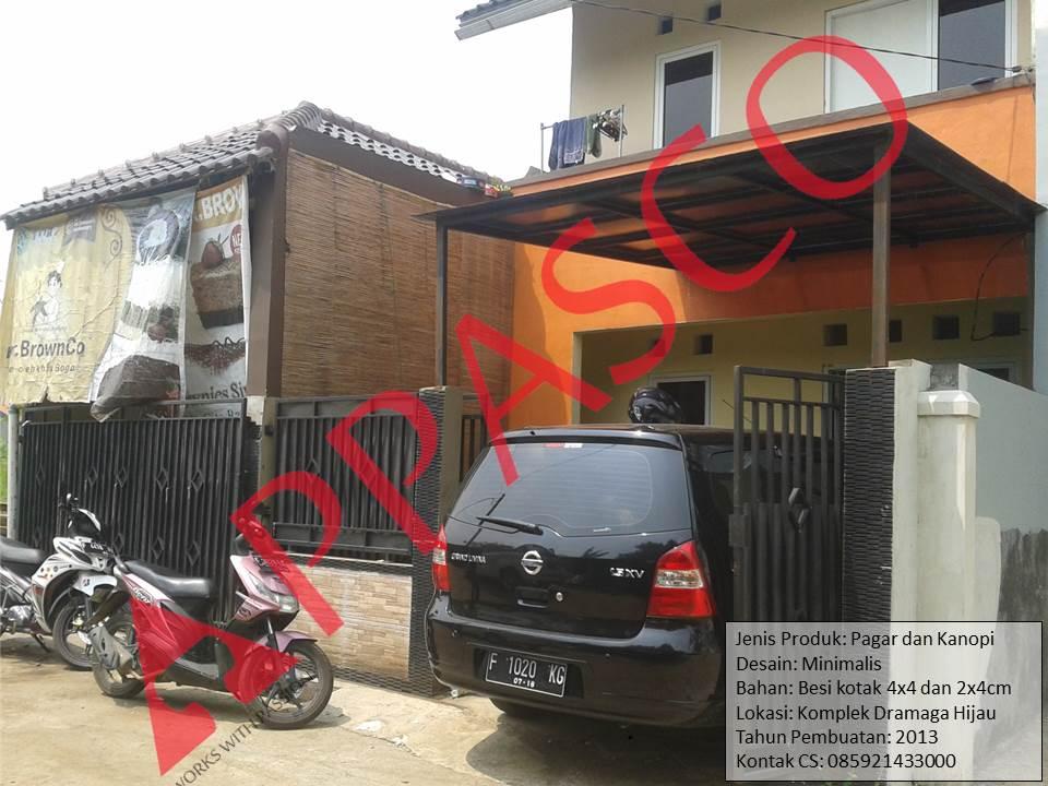 Pagar dan Kanopi Minimalis di Dramaga Hijau Bogor
