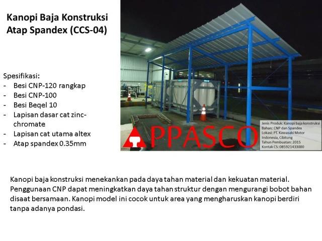 kanopi baja konstruksi spandex untuk pabrik