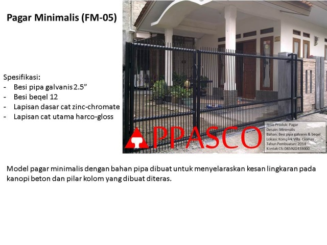 pagar minimalis bahan pipa galvanis