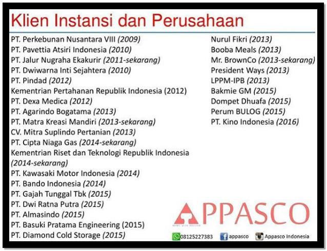 klien instansi dan perusahaan appasco