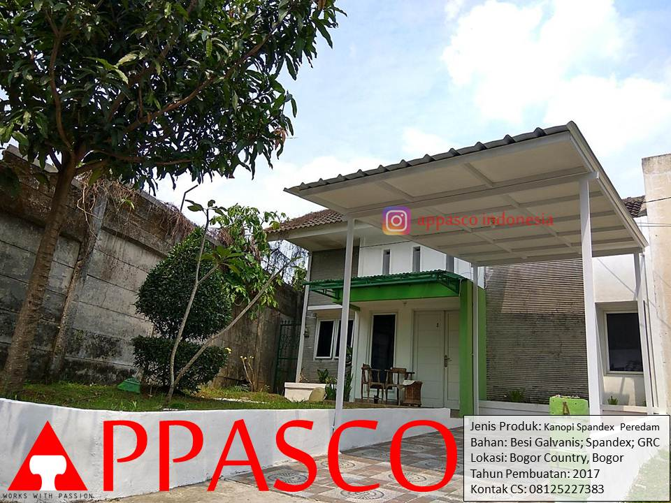 Kanopi Minimalis Spandek Peredam di Komplek Bogor Country
