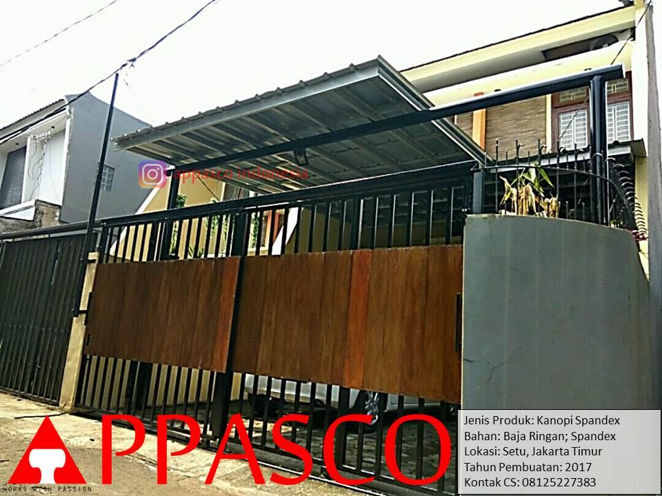 Kanopi Minimalis Spandek Baja Ringan di Setu Jakarta Timur
