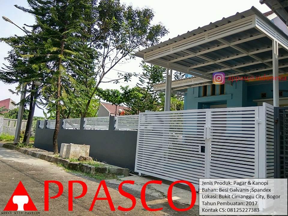 Pagar dan Kanopi Minimalis Atap Spandek Warna Putih di Bukit Cimanggu City