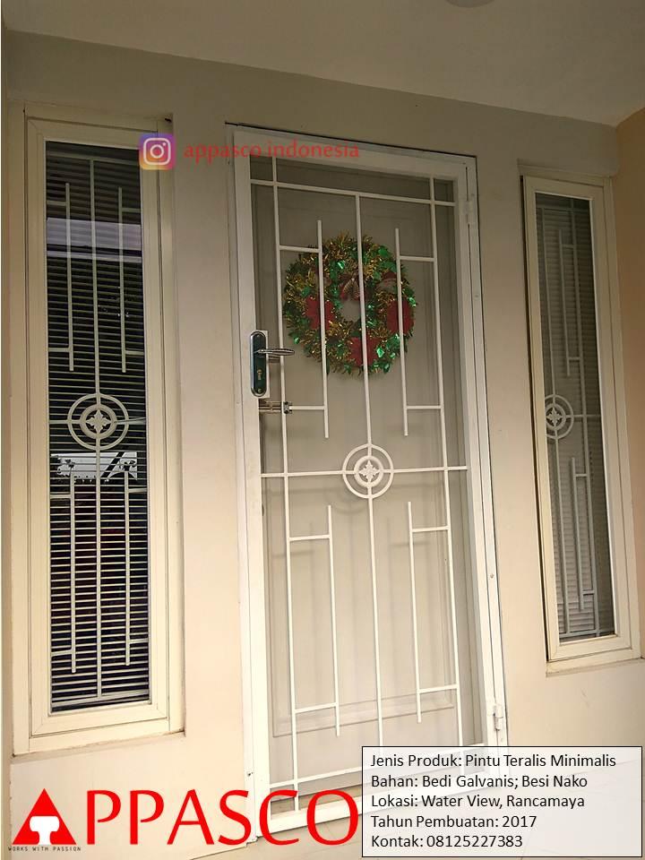 Pintu Besi Teralis Minimalis Besi Galvanis dan Nako