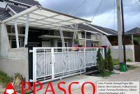 Kanopi Minimalis Besi Galvanis Atap Polikarbonat dan Pagar Minimalis Modern Putih di Cilebut