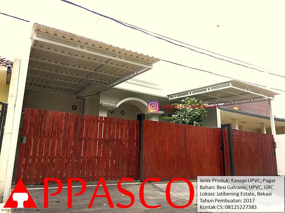 Kanopi Modern UPVC dan Pagar Klasik Kayu Minimalis di Jatibening Bekasi