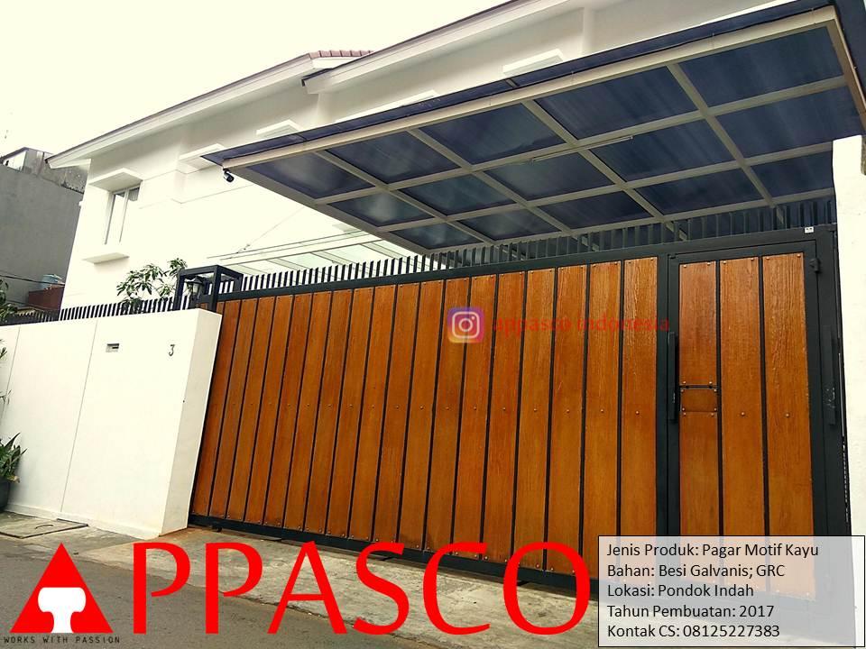Pagar Dorong Minimalis Motif Kayu GRC di Pondok Indah