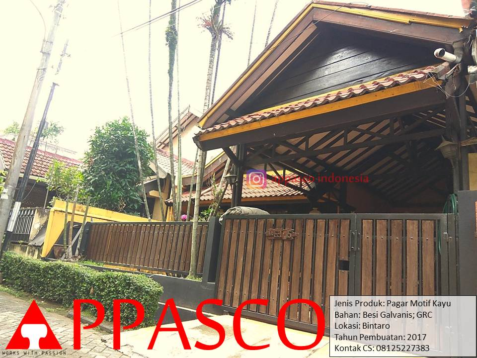 Pagar Klasik Kayu Besi Galvanis di Bintaro