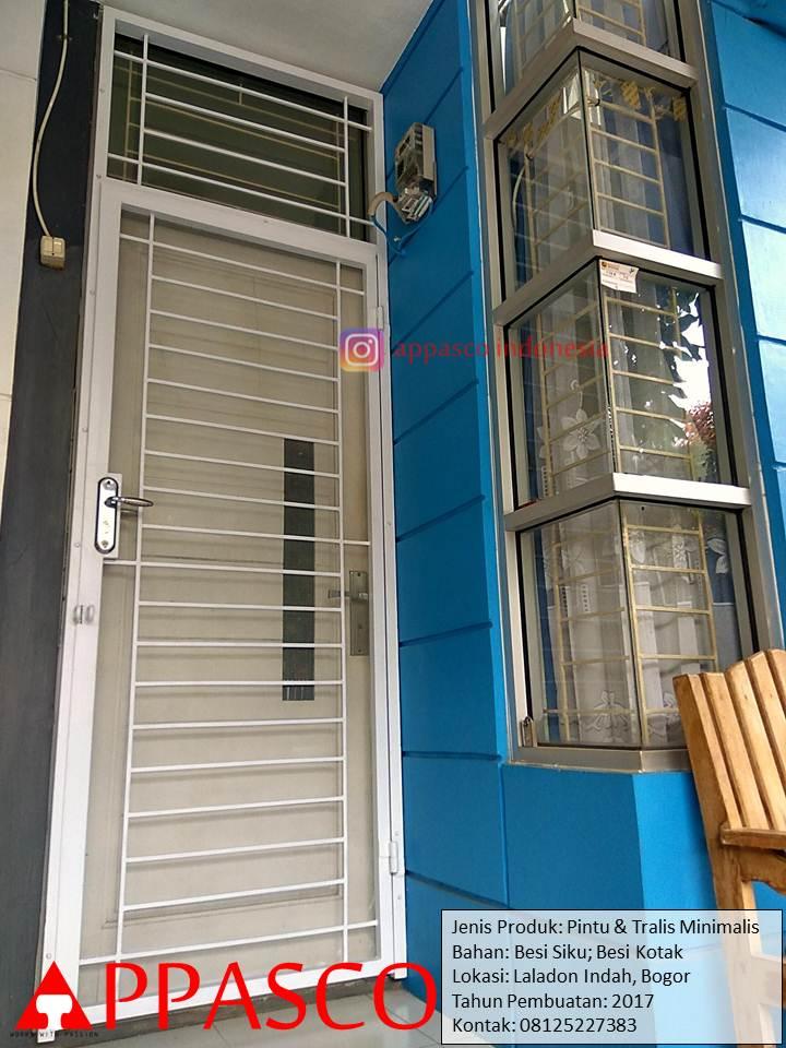 Pintu Teralis Minimalis Garis Horizontal di Laladon Bogor