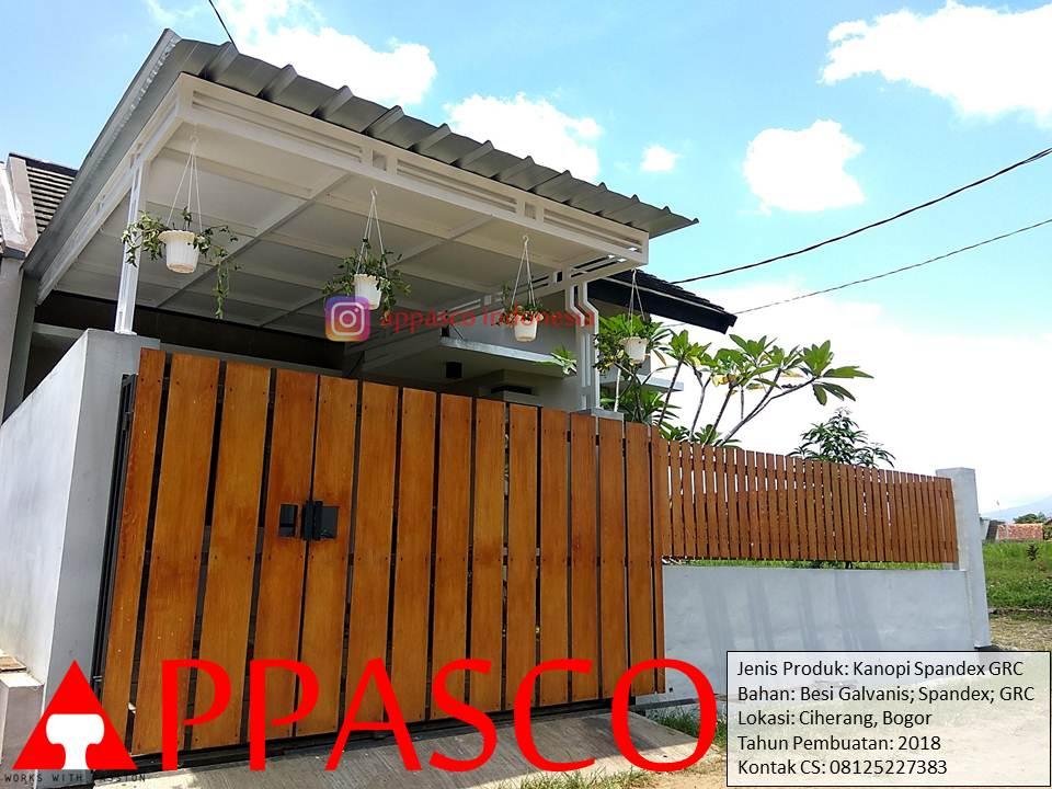 Kanopi Minimalis Atap Spandek dengan Peredam GRC di Ciherang Bogor