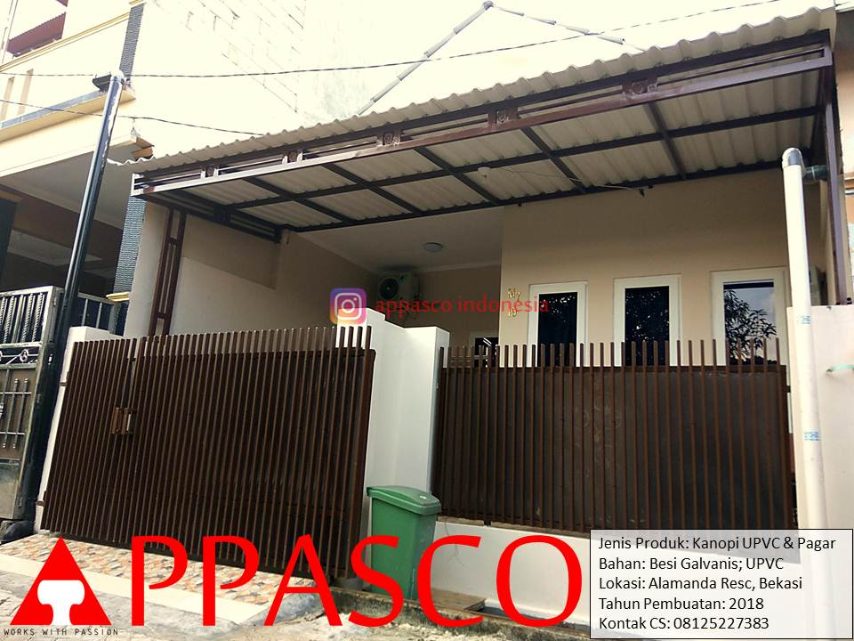 Kanopi Minimalis Atap UPVC dan Pagar Minimalis Galvanis di Bekasi