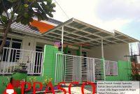 Kanopi Minimalis Sederhana Atap Spandek Besi Galvanis dengan Palang Air di Villa Bogor Indah