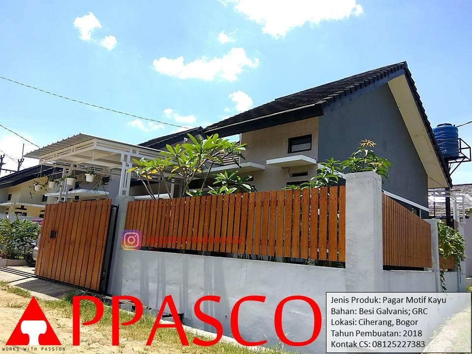 Pagar Minimalis Klasik Kayu - Motif Kayu Besi Galvanis di Ciherang Bogor