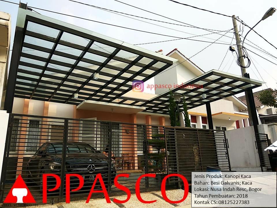 Kanopi Minimalis Modern Atap Kaca di Nusa Indah Residence Bogor
