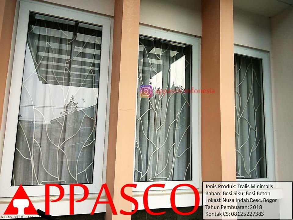 Teralis Minimalis Modern Motif Daun Besi Beton Dan Siku Di Nusa