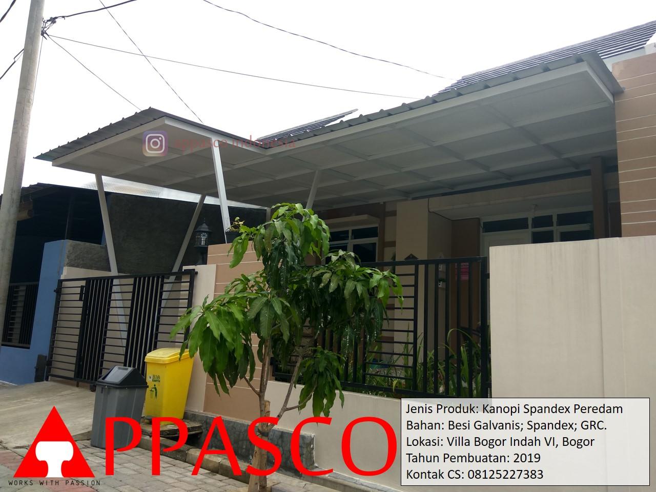 Kanopi Spandek Peredam GRC di Villa Bogor Indah