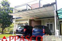 Kanopi Minimalis Atap Spandek Besi Galvanis dengan Peredam GRC di Puri Beta Ciledug Tangerang