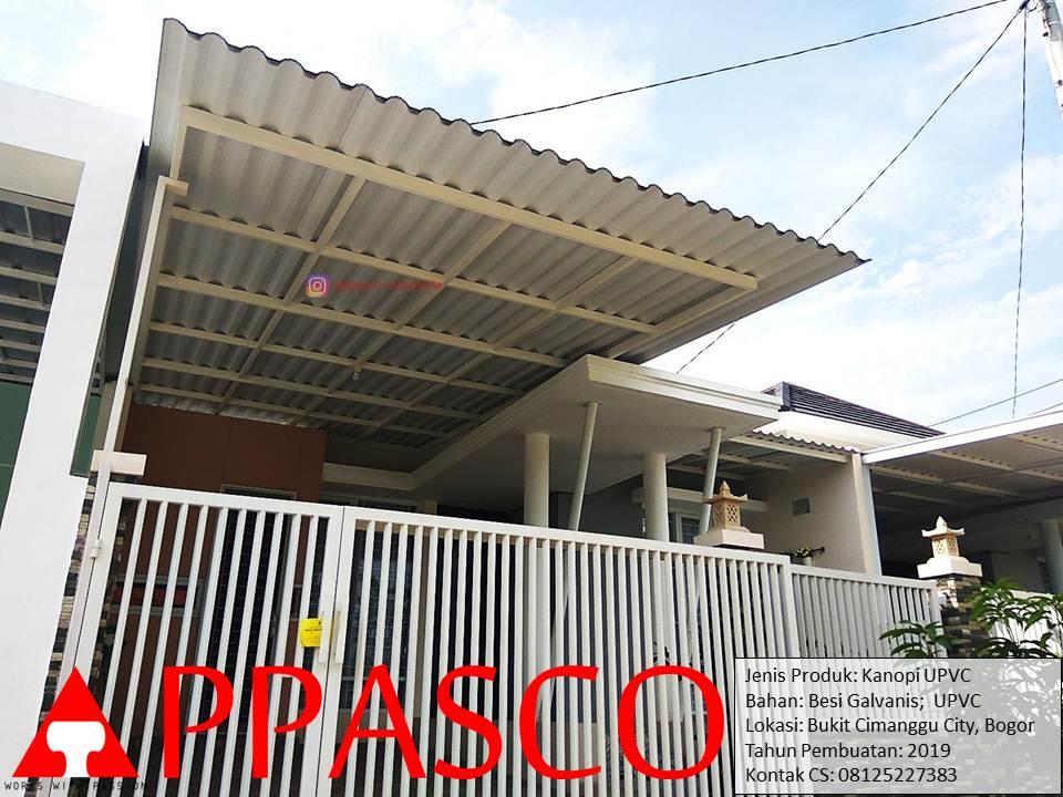 Kanopi Minimalis Modern Tiang 1 Besi Galvanis Atap UPVC di Bukit Cimanggu City