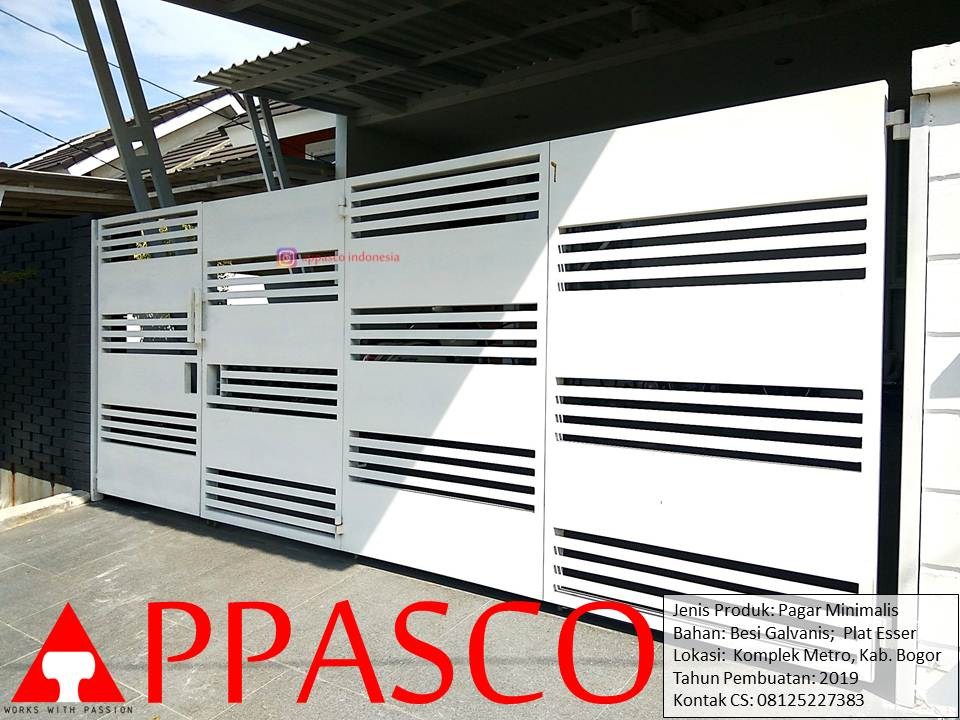 Pagar-Minimalis-Warna-Putih-Cantik-Besi-Galvanis-Plat-Esser-di-komplek-Metro-Bogor